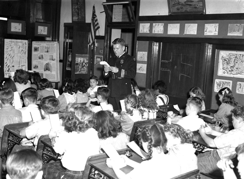 Art Morken as a lieutenant working with school kids in 1939