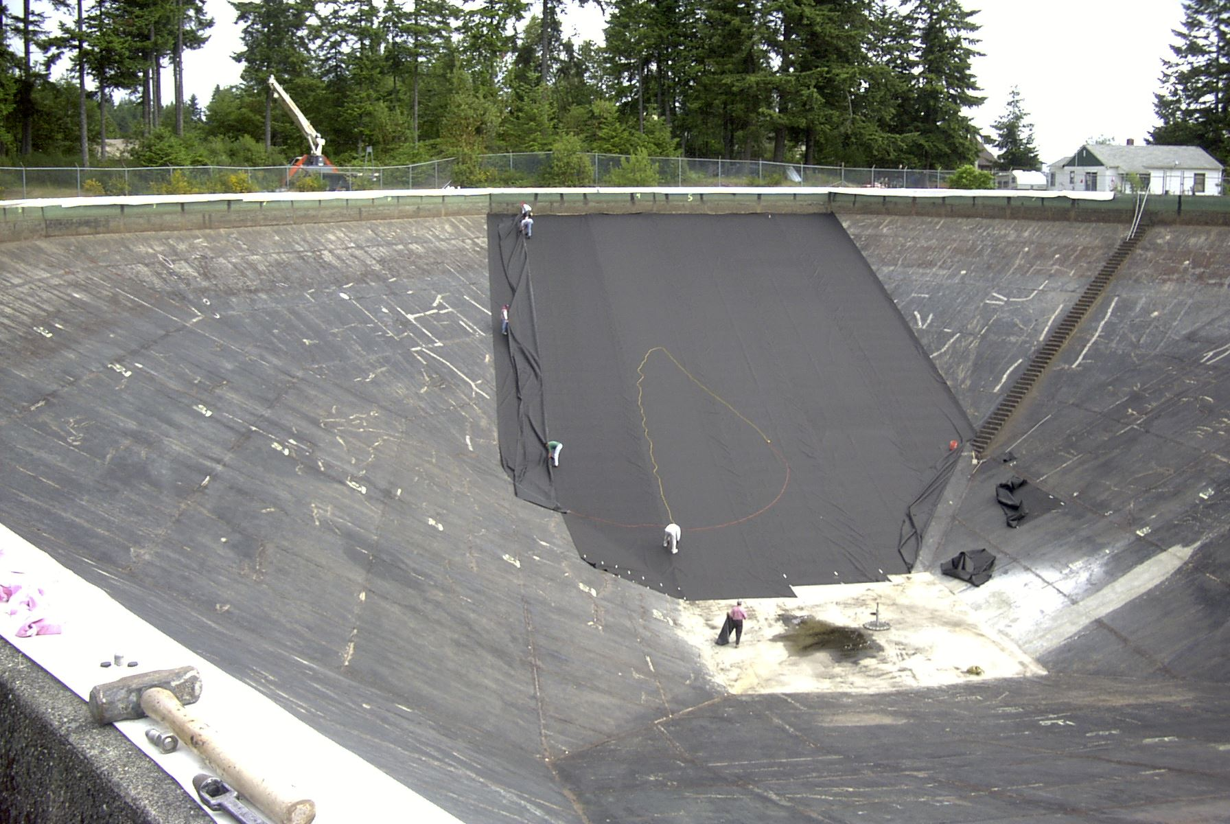 243 first section of geotextile in N panel