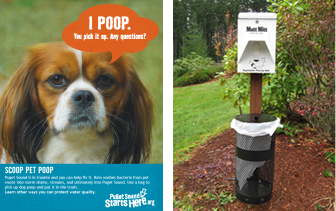 Pick Up Dog Waste Flyer and Dog Litter Station