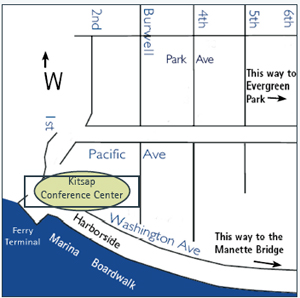 Map of Bremerton and the Kitsap Conference Center